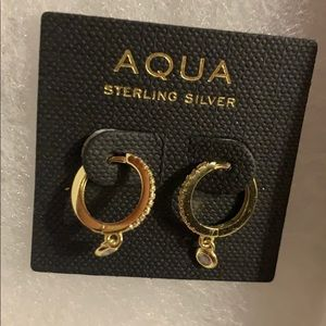 Bloomingdales aqua tiny hoop earrings